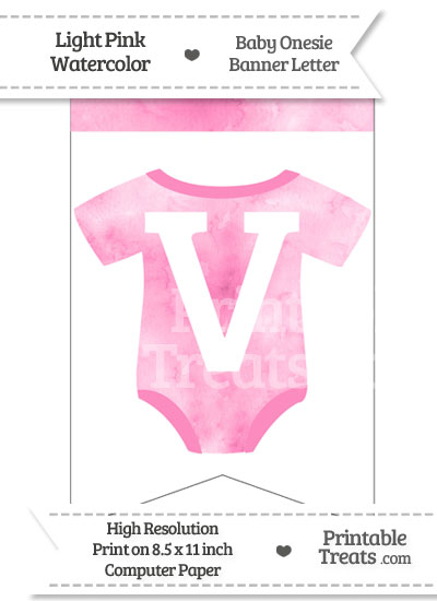 Light Pink Watercolor Baby Onesie Bunting Banner Letter V from PrintableTreats.com