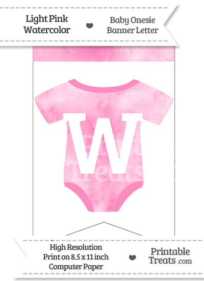 Light Pink Watercolor Baby Onesie Bunting Banner Letter W from PrintableTreats.com