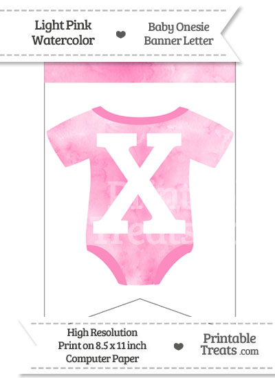 Light Pink Watercolor Baby Onesie Bunting Banner Letter X from PrintableTreats.com