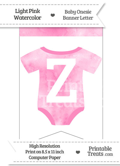 Light Pink Watercolor Baby Onesie Bunting Banner Letter Z from PrintableTreats.com