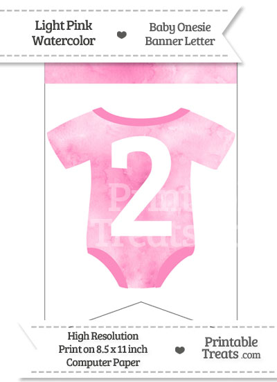 Light Pink Watercolor Baby Onesie Bunting Banner Number 2 from PrintableTreats.com