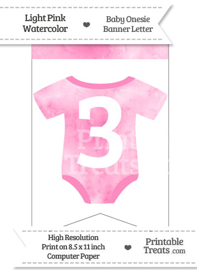 Light Pink Watercolor Baby Onesie Bunting Banner Number 3 from PrintableTreats.com