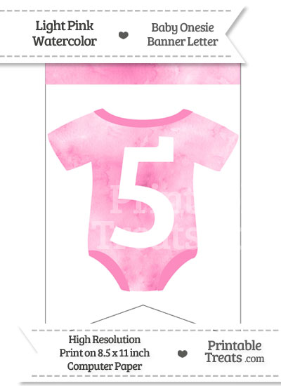 Light Pink Watercolor Baby Onesie Bunting Banner Number 5 from PrintableTreats.com