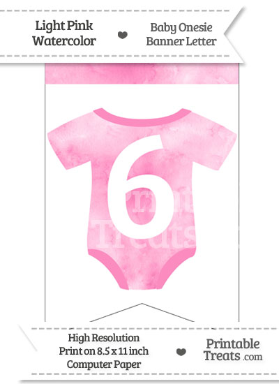 Light Pink Watercolor Baby Onesie Bunting Banner Number 6 from PrintableTreats.com