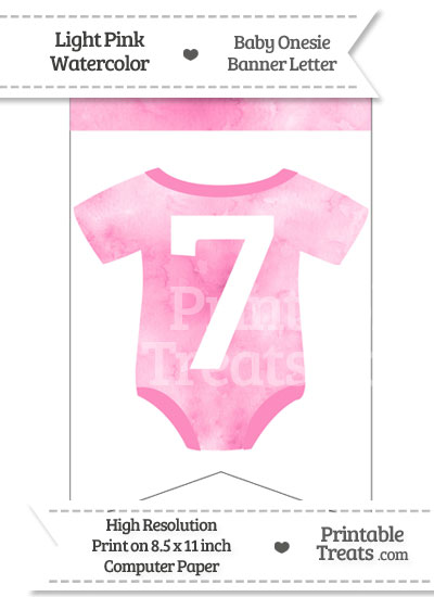 Light Pink Watercolor Baby Onesie Bunting Banner Number 7 from PrintableTreats.com