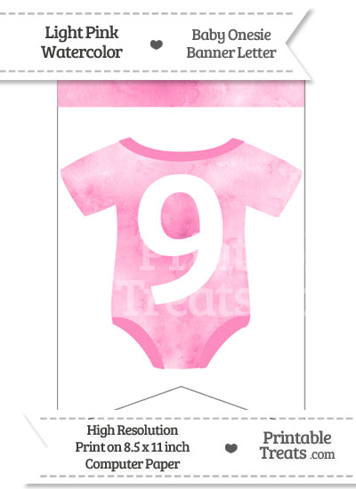 Light Pink Watercolor Baby Onesie Bunting Banner Number 9 from PrintableTreats.com