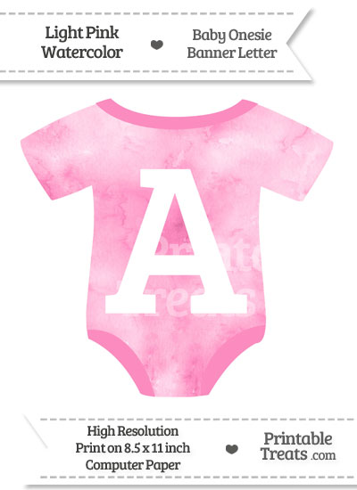 Light Pink Watercolor Baby Onesie Shaped Banner Letter A from PrintableTreats.com