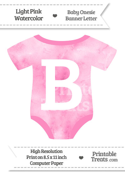 Light Pink Watercolor Baby Onesie Shaped Banner Letter B from PrintableTreats.com