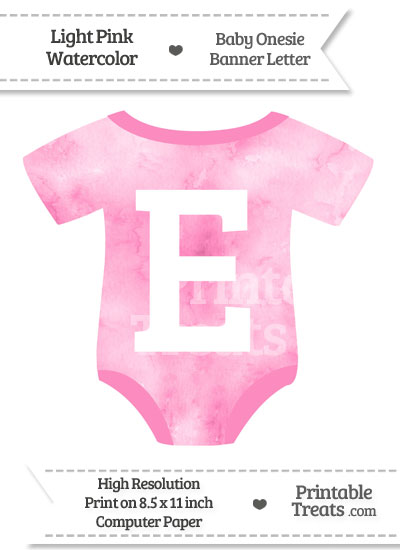 Light Pink Watercolor Baby Onesie Shaped Banner Letter E from PrintableTreats.com