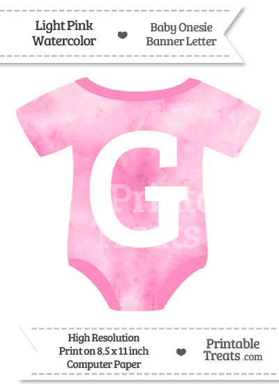 Light Pink Watercolor Baby Onesie Shaped Banner Letter G from PrintableTreats.com