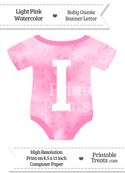 Light Pink Watercolor Baby Onesie Shaped Banner Letter I from PrintableTreats.com