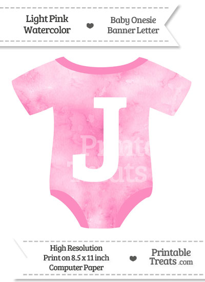 Light Pink Watercolor Baby Onesie Shaped Banner Letter J from PrintableTreats.com