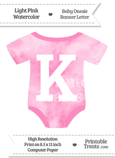 Light Pink Watercolor Baby Onesie Shaped Banner Letter K from PrintableTreats.com