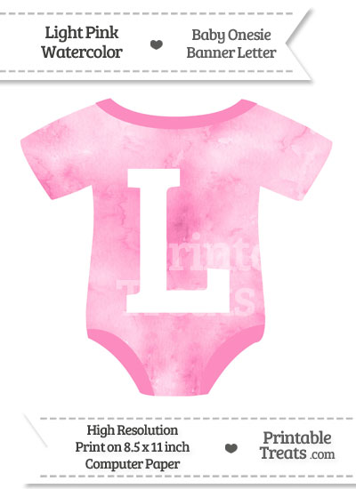 Light Pink Watercolor Baby Onesie Shaped Banner Letter L from PrintableTreats.com