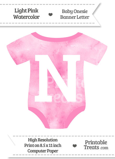 Light Pink Watercolor Baby Onesie Shaped Banner Letter N from PrintableTreats.com