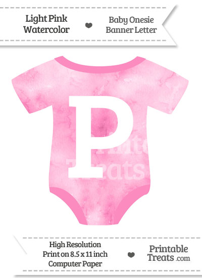 Light Pink Watercolor Baby Onesie Shaped Banner Letter P from PrintableTreats.com
