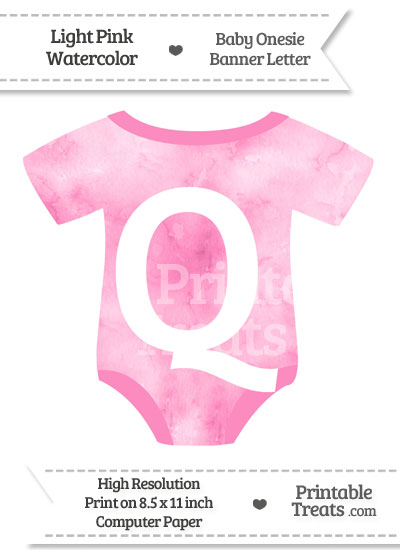 Light Pink Watercolor Baby Onesie Shaped Banner Letter Q from PrintableTreats.com
