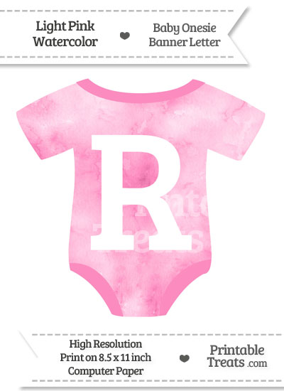 Light Pink Watercolor Baby Onesie Shaped Banner Letter R from PrintableTreats.com