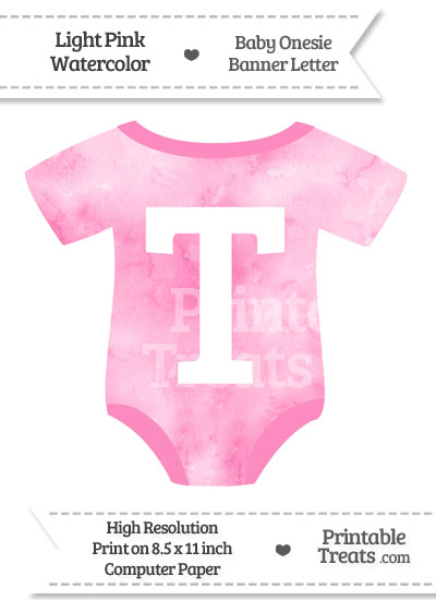 Light Pink Watercolor Baby Onesie Shaped Banner Letter T from PrintableTreats.com