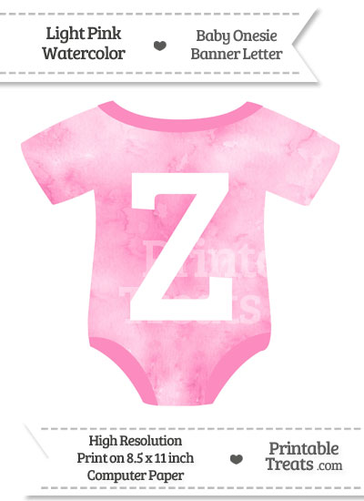 Light Pink Watercolor Baby Onesie Shaped Banner Letter Z from PrintableTreats.com