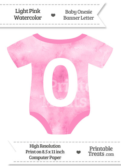 Light Pink Watercolor Baby Onesie Shaped Banner Number 0 from PrintableTreats.com