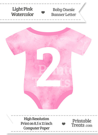 Light Pink Watercolor Baby Onesie Shaped Banner Number 2 from PrintableTreats.com
