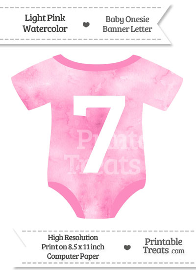 Light Pink Watercolor Baby Onesie Shaped Banner Number 7 from PrintableTreats.com