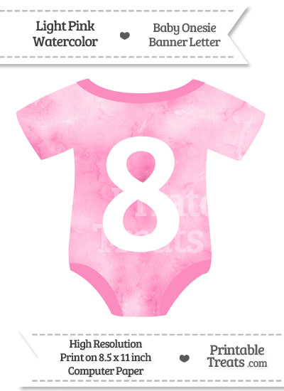 Light Pink Watercolor Baby Onesie Shaped Banner Number 8 from PrintableTreats.com