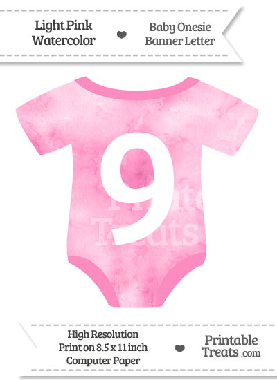Light Pink Watercolor Baby Onesie Shaped Banner Number 9 from PrintableTreats.com