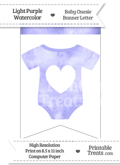 Light Purple Watercolor Baby Onesie Bunting Banner Heart End Flag from PrintableTreats.com