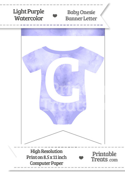 Light Purple Watercolor Baby Onesie Bunting Banner Letter C from PrintableTreats.com