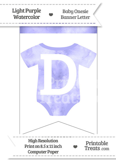 Light Purple Watercolor Baby Onesie Bunting Banner Letter D from PrintableTreats.com