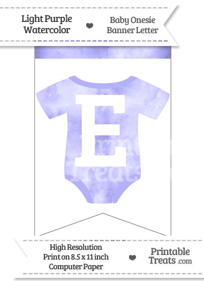 Light Purple Watercolor Baby Onesie Bunting Banner Letter E from PrintableTreats.com