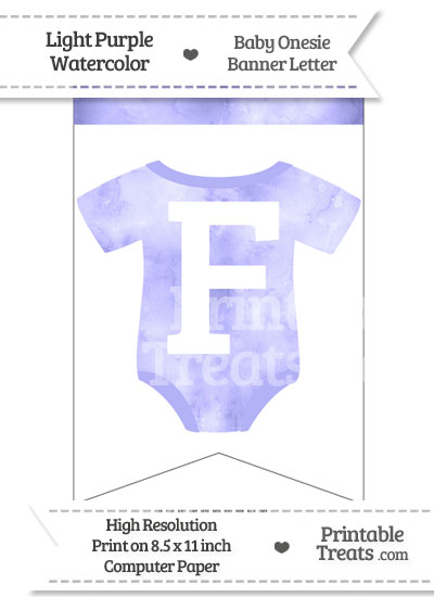 Light Purple Watercolor Baby Onesie Bunting Banner Letter F from PrintableTreats.com