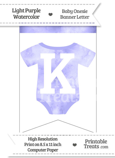 Light Purple Watercolor Baby Onesie Bunting Banner Letter K from PrintableTreats.com