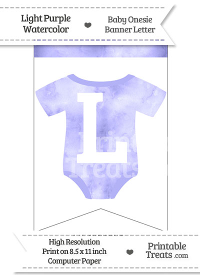 Light Purple Watercolor Baby Onesie Bunting Banner Letter L from PrintableTreats.com