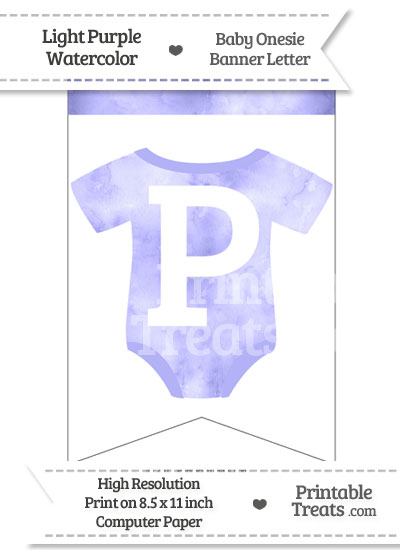 Light Purple Watercolor Baby Onesie Bunting Banner Letter P from PrintableTreats.com