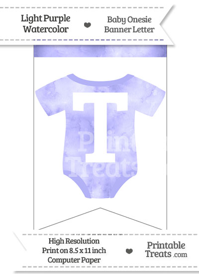 Light Purple Watercolor Baby Onesie Bunting Banner Letter T from PrintableTreats.com