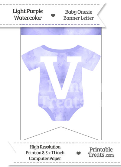 Light Purple Watercolor Baby Onesie Bunting Banner Letter V from PrintableTreats.com