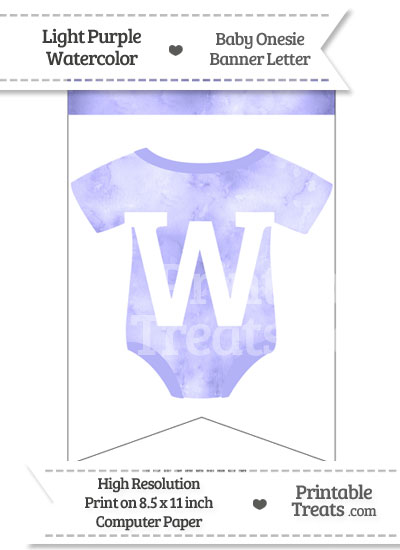 Light Purple Watercolor Baby Onesie Bunting Banner Letter W from PrintableTreats.com