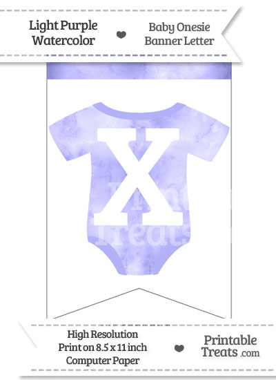 Light Purple Watercolor Baby Onesie Bunting Banner Letter X from PrintableTreats.com