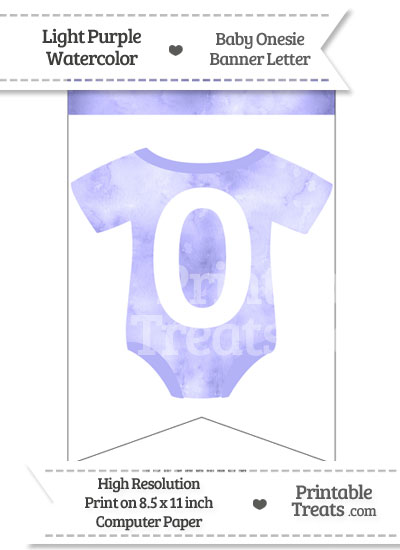 Light Purple Watercolor Baby Onesie Bunting Banner Number 0 from PrintableTreats.com