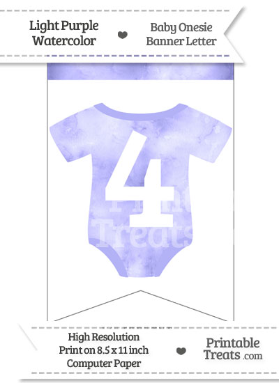 Light Purple Watercolor Baby Onesie Bunting Banner Number 4 from PrintableTreats.com
