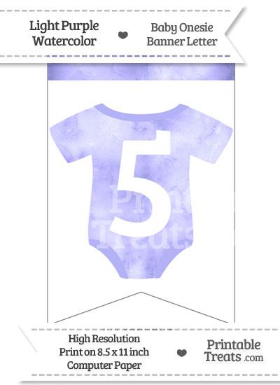 Light Purple Watercolor Baby Onesie Bunting Banner Number 5 from PrintableTreats.com