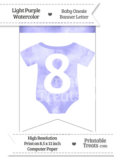 Light Purple Watercolor Baby Onesie Bunting Banner Number 8 from PrintableTreats.com