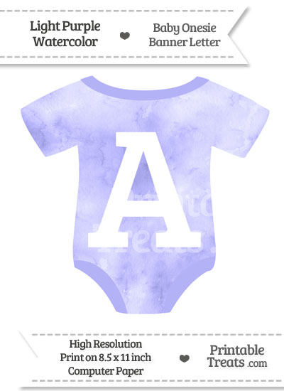 Light Purple Watercolor Baby Onesie Shaped Banner Letter A from PrintableTreats.com
