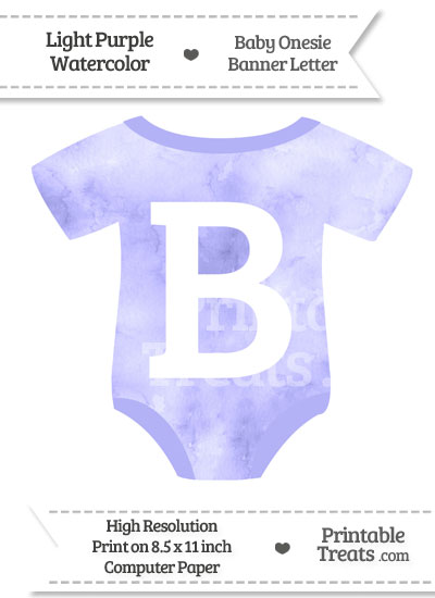 Light Purple Watercolor Baby Onesie Shaped Banner Letter B from PrintableTreats.com