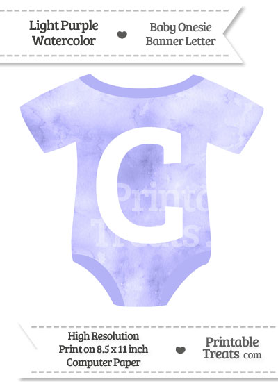 Light Purple Watercolor Baby Onesie Shaped Banner Letter C from PrintableTreats.com