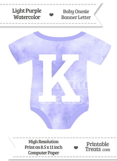Light Purple Watercolor Baby Onesie Shaped Banner Letter K from PrintableTreats.com