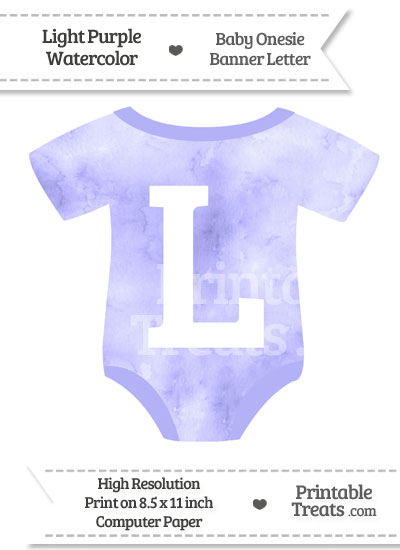 Light Purple Watercolor Baby Onesie Shaped Banner Letter L from PrintableTreats.com